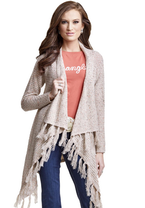 Fringe Open Front Sweater Cardigan