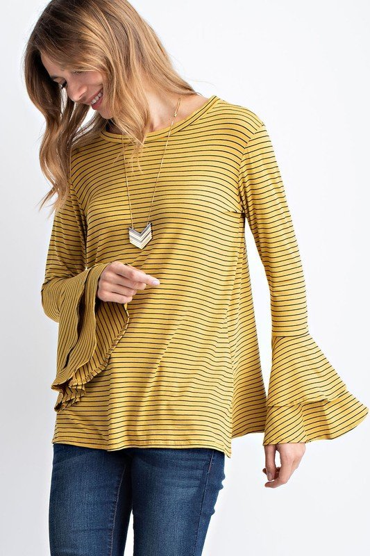 Pinstripe Bell Sleeve Top