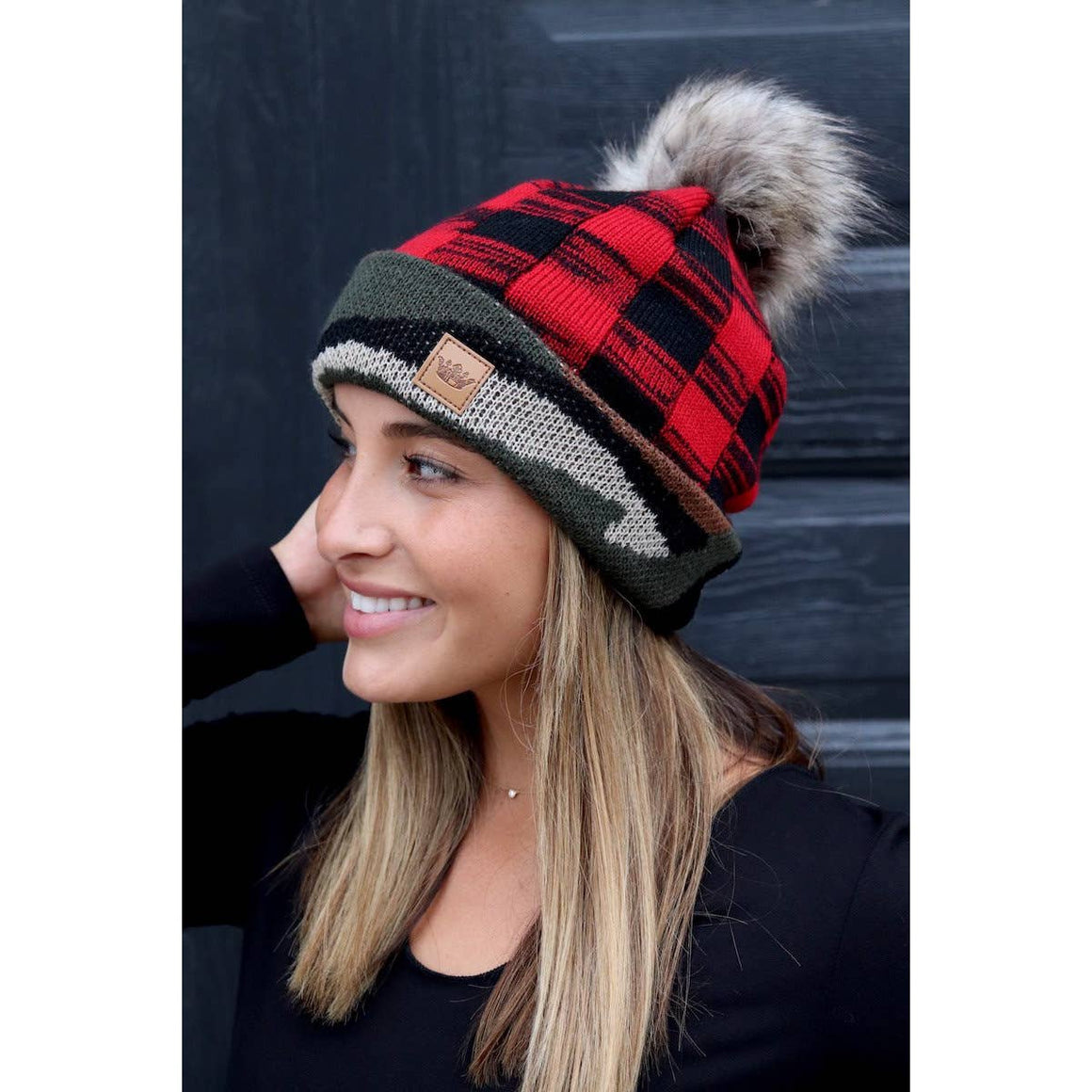 Plaid & Camo Knit Hat