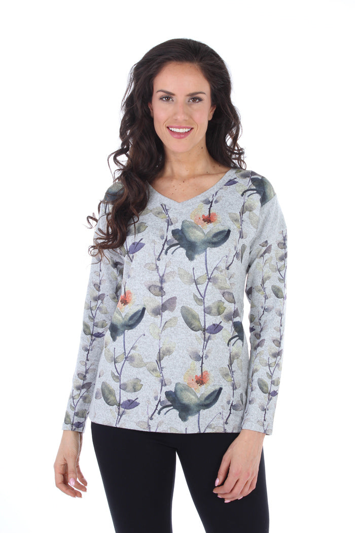 V-Neck Sweater with Floral Print