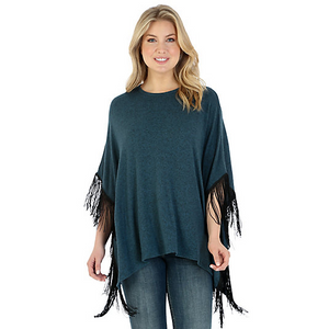 Women's Short Sleeve Fringed Poncho