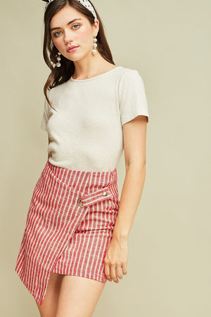 Striped Asymmetrical Wrap Skirt