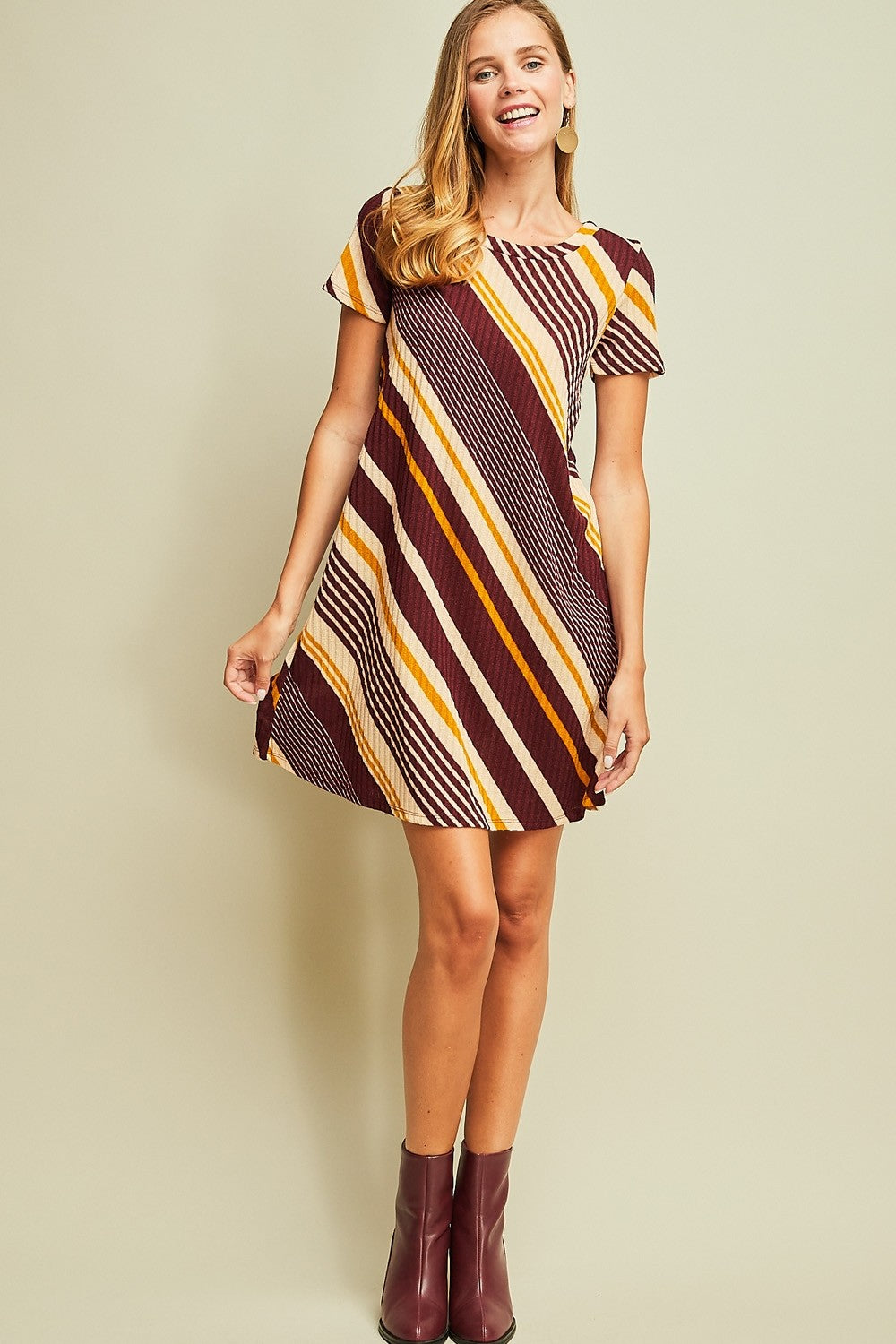 Diagonal Striped T-Shirt Dress