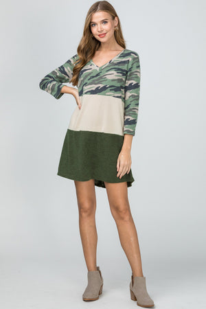 Color Block Camo Dress