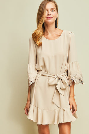 Bell Sleeve & Lace Dress