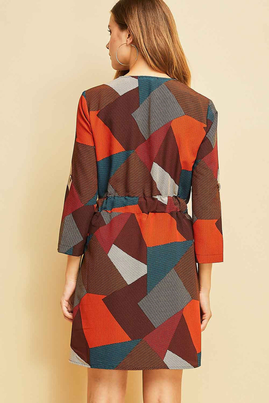 Geometric Print Wrap Dress