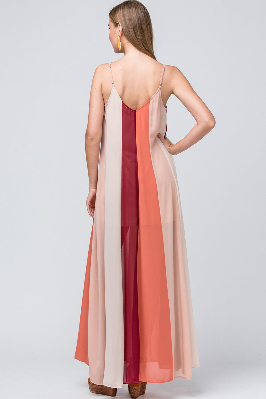 Color-Block V-Neck Maxi Dress