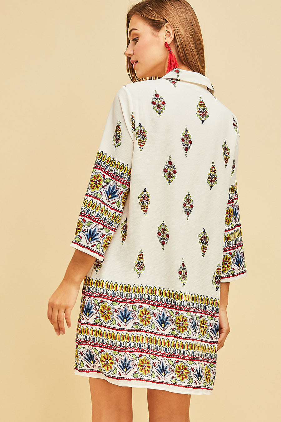 Border Print Collar Dress