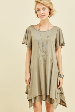 Double Layered Handkerchief Hem Dress