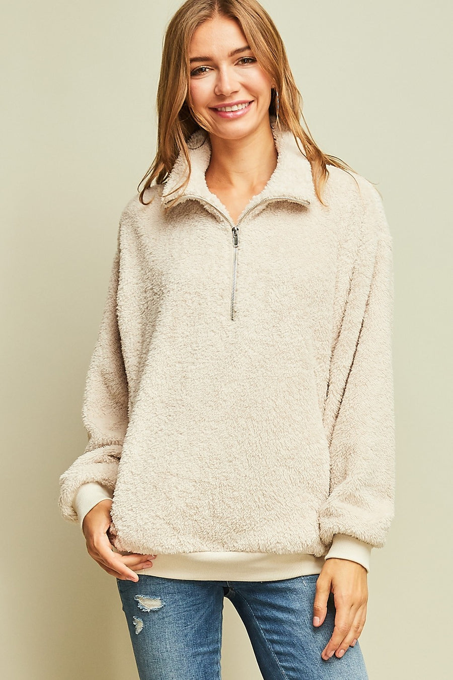 Faux Fur Pullover Sweater