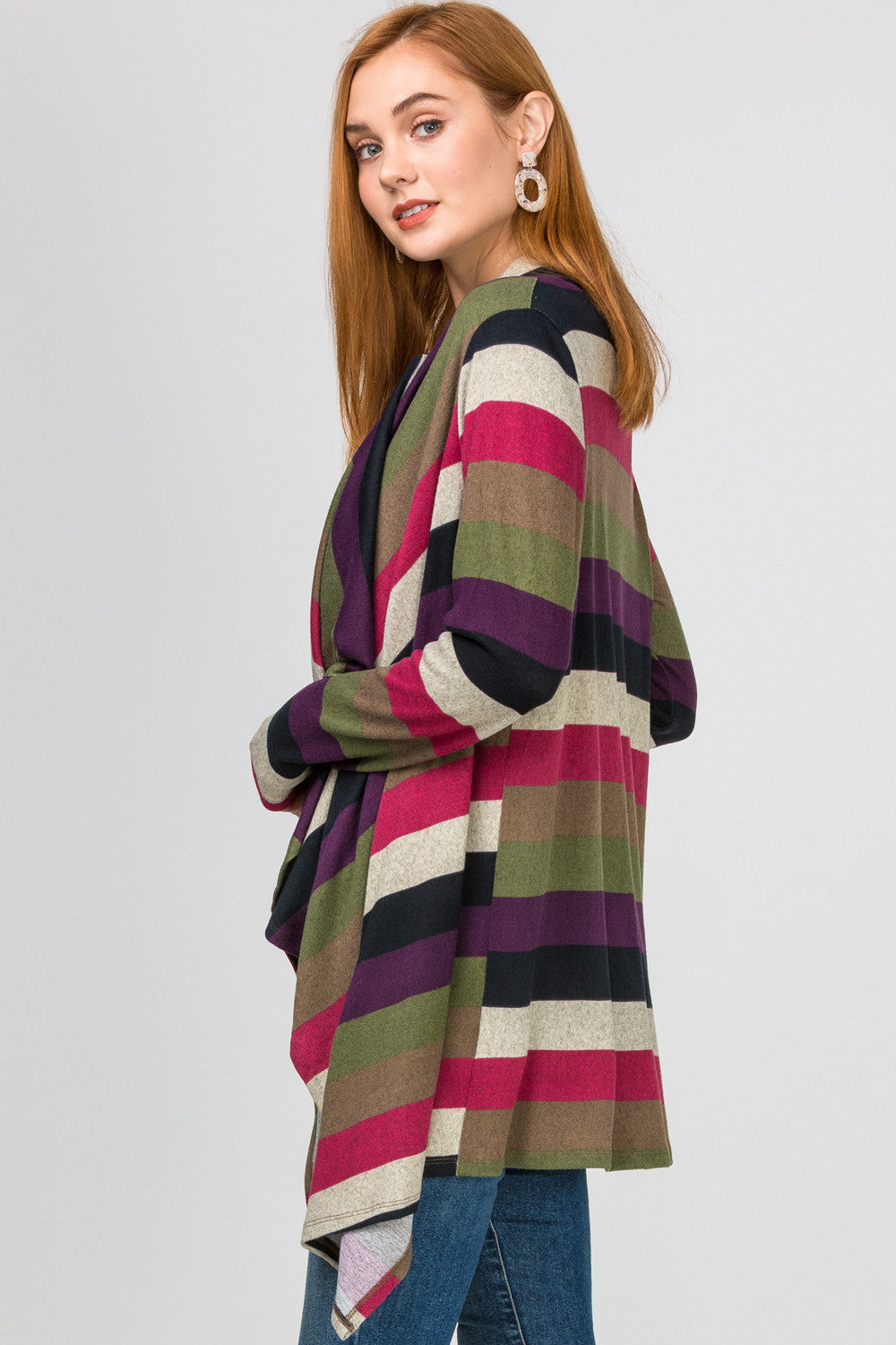 Striped Asymmetrical Cardigan