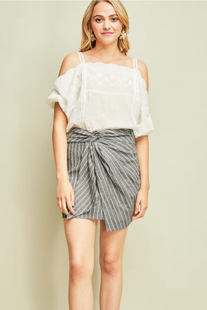 Pinstripe High-Waist Skirt