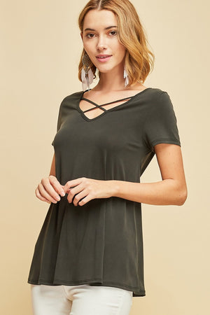 V-neck Top With Strappy Cutout