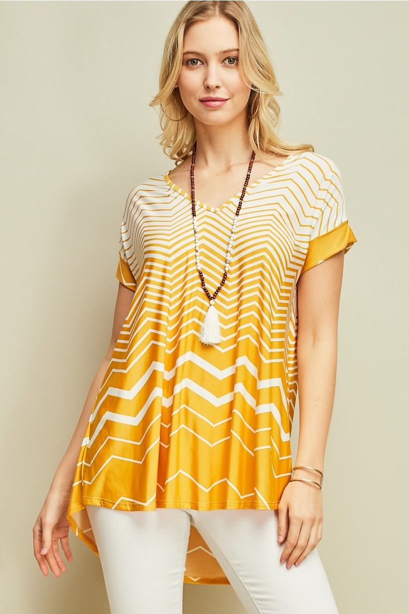 Chevron Print V-neck
