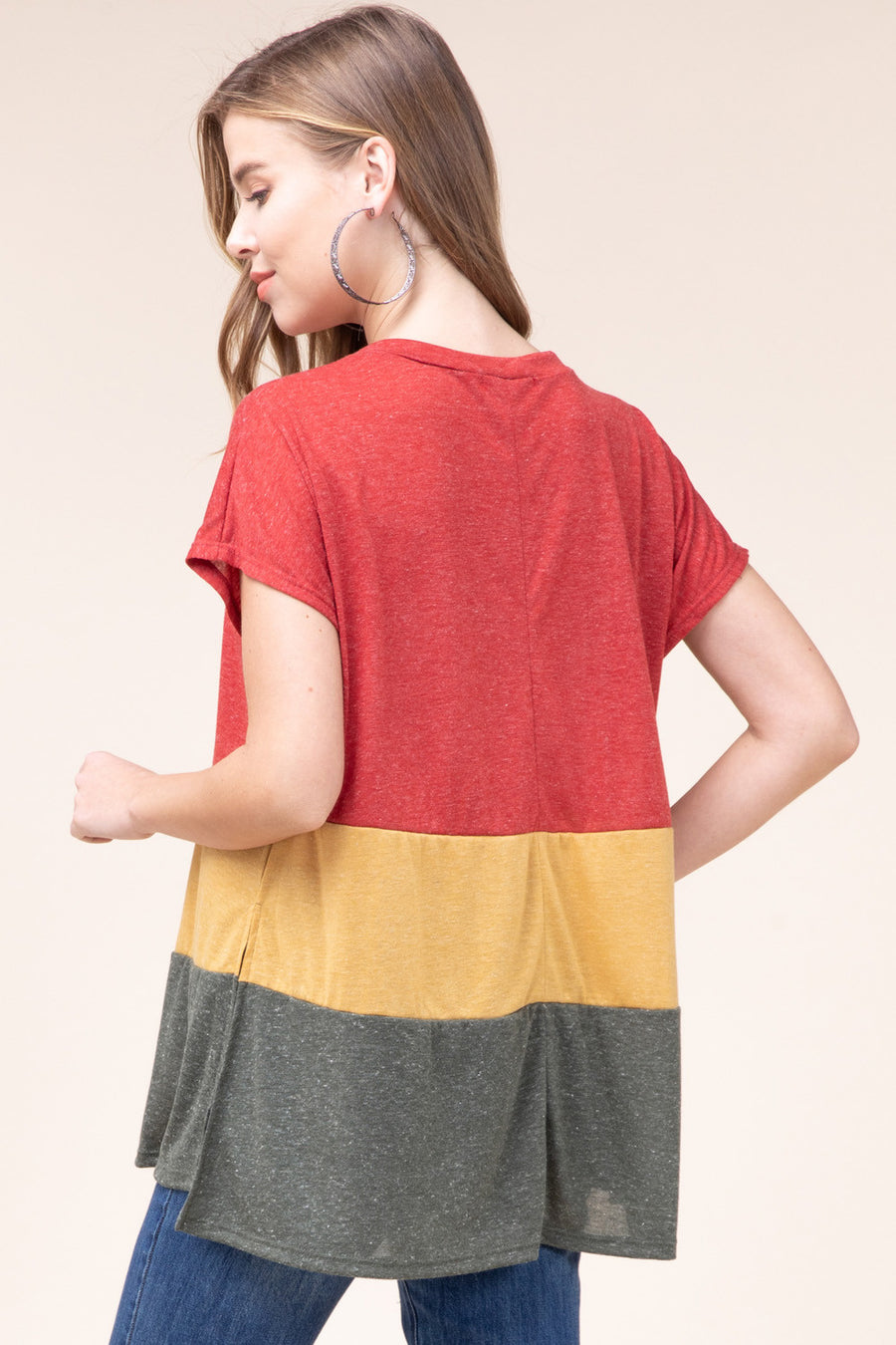 Color-Block V-Neck Top with Side Slit Detail