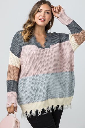 Color-Block V-Neck Sweater
