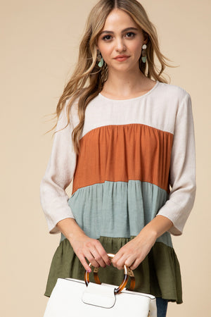 Color-Block Tiered Top
