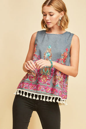 Embroidered Fringe Top