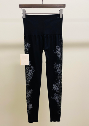 High Waisted Legging With Tropical Aztec Print