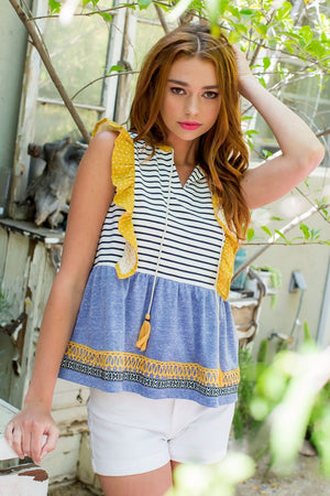 Sleeveless Stripe Ruffle Knit Top