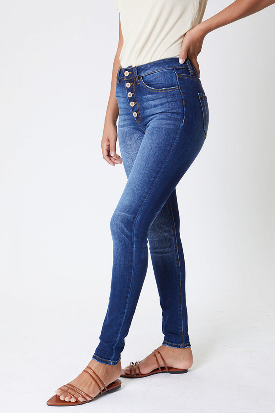 Kancan Exposed Button Jean