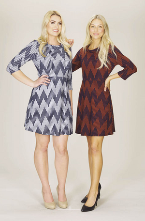 Chevron Sweater Dress with Rolled Collar