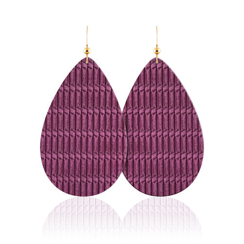 Amethyst Teardrop Leather Earrings