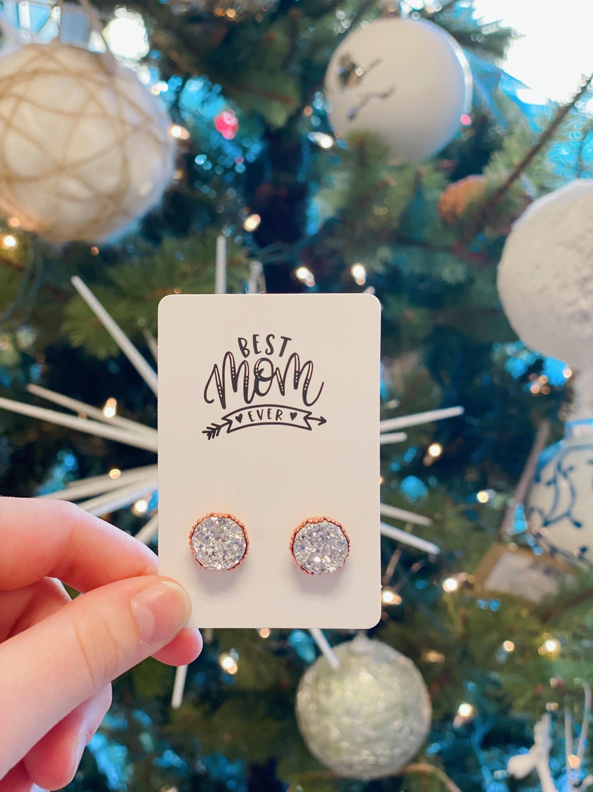Best Mom Druzy Earrings