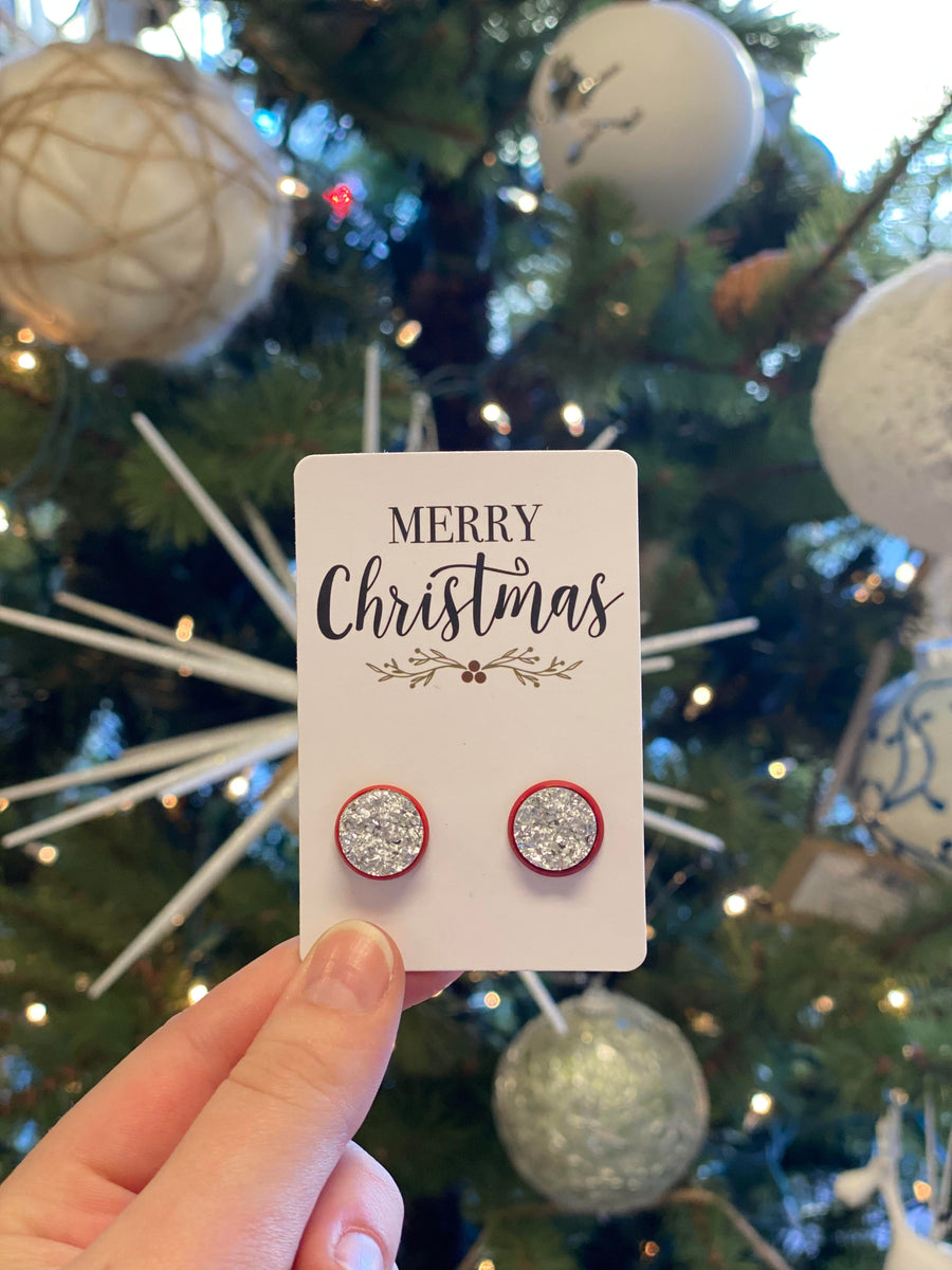 Christmas Druzy Earrings