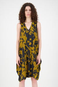 Hera Silk Dress (Gold/Navy)