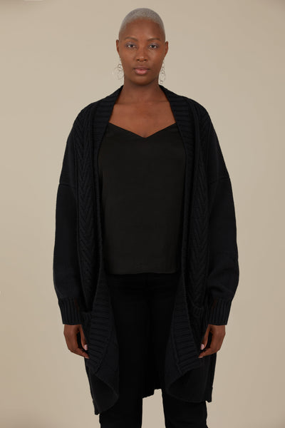 Orion Chunky Knit Cardigan (Black)