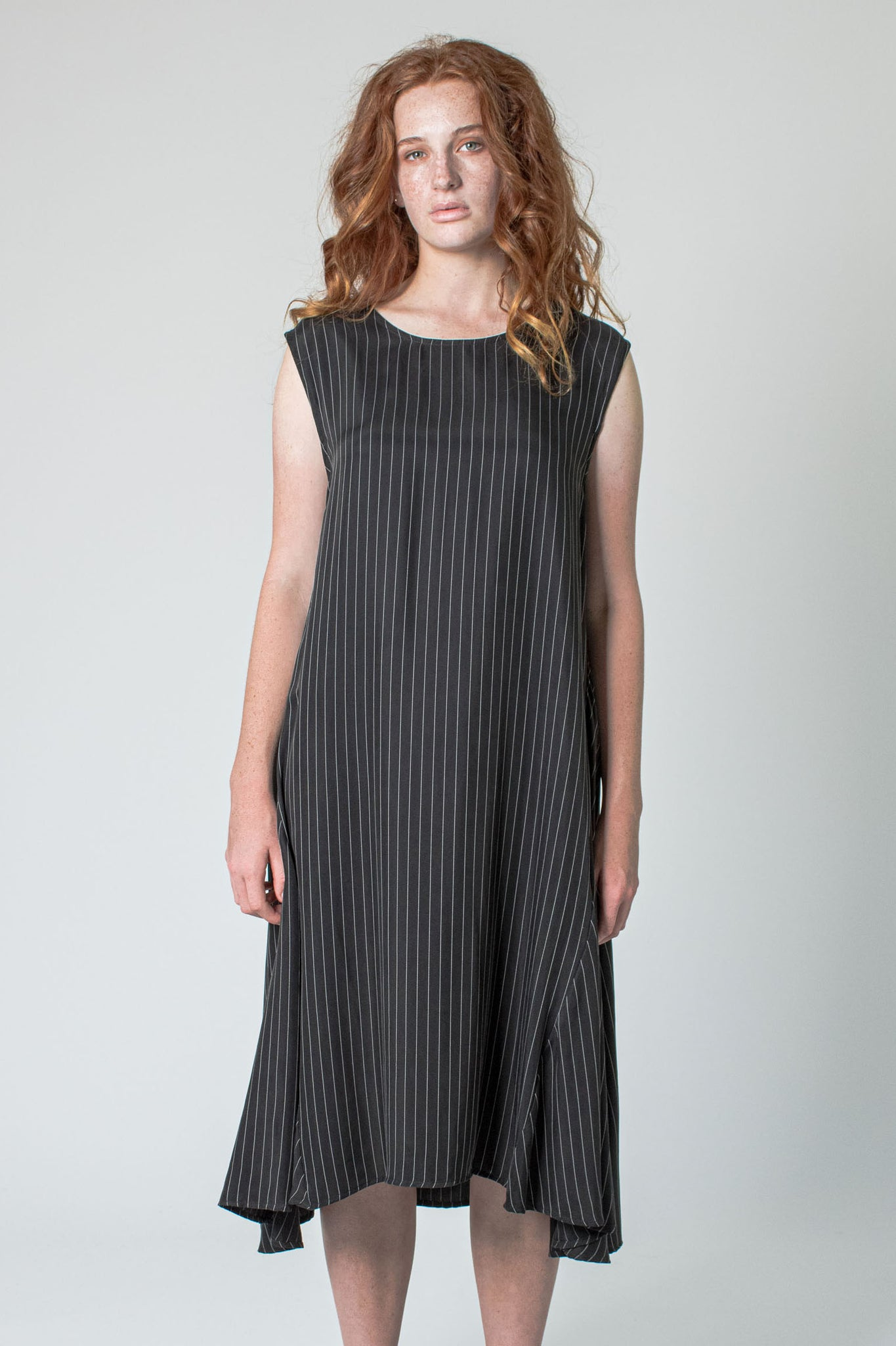 Veronica Pinstripe Dress (Black)