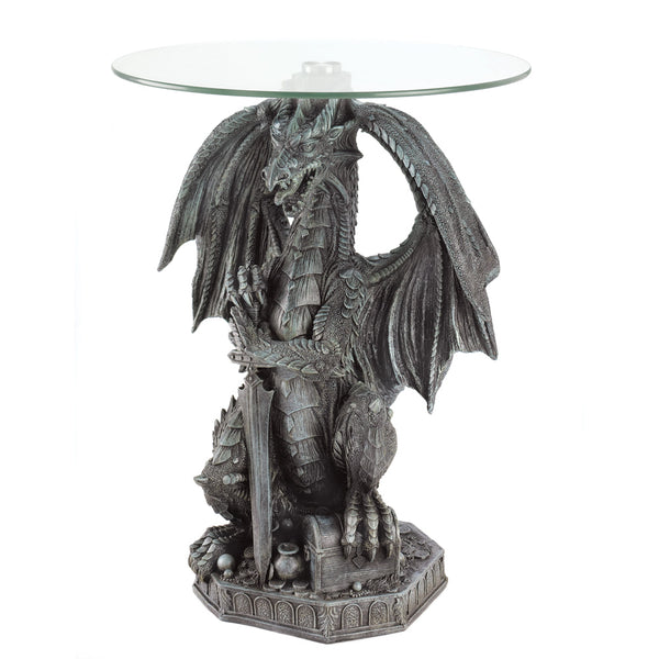 Winged Dragon With Sword and Chest Accent Table Tables - The Tipsy Dragon
