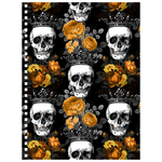 Orange Rose and Crowned Skull Gothic Spiral Bound Notebook Notebooks - The Tipsy Dragon