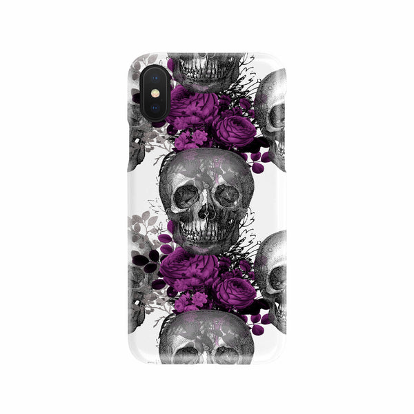 Gothic Skull and Purple Rose Cell Phone Slim Case Cell Phone Case - The Tipsy Dragon