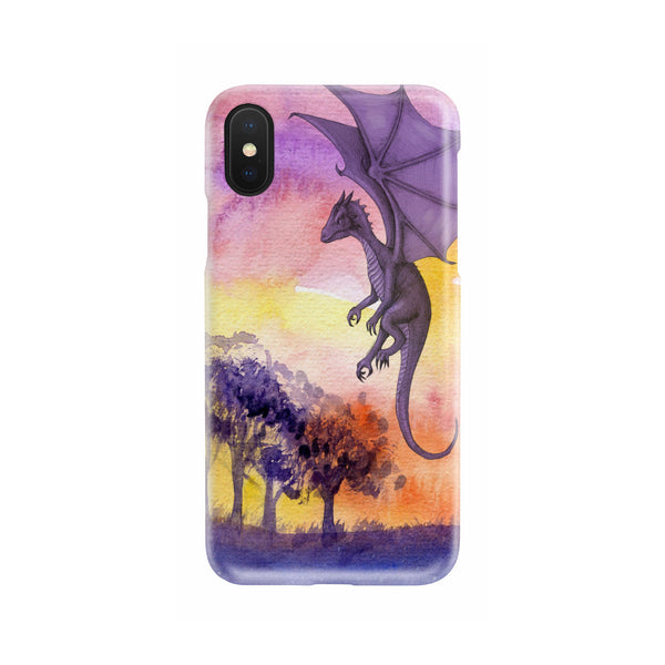 Cute Purple Tone Watercolor Dragon and Trees Slim Phone Case Phone Case - The Tipsy Dragon
