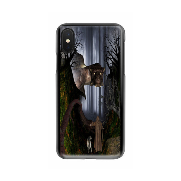 Wizard And Wolf In Woods With Dragon Slim Phone Case iPhone Samsung Phone Case - The Tipsy Dragon
