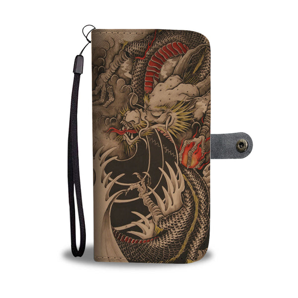Oriental Dragon Tan And Red Phone Wallet Case Wallet Case - The Tipsy Dragon