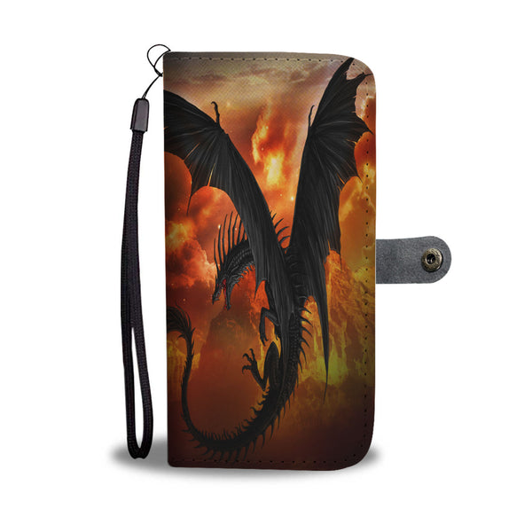 Dramatic Flying Dragon In Fiery Celestial Background Phone Case Wallet Wallet Case - The Tipsy Dragon