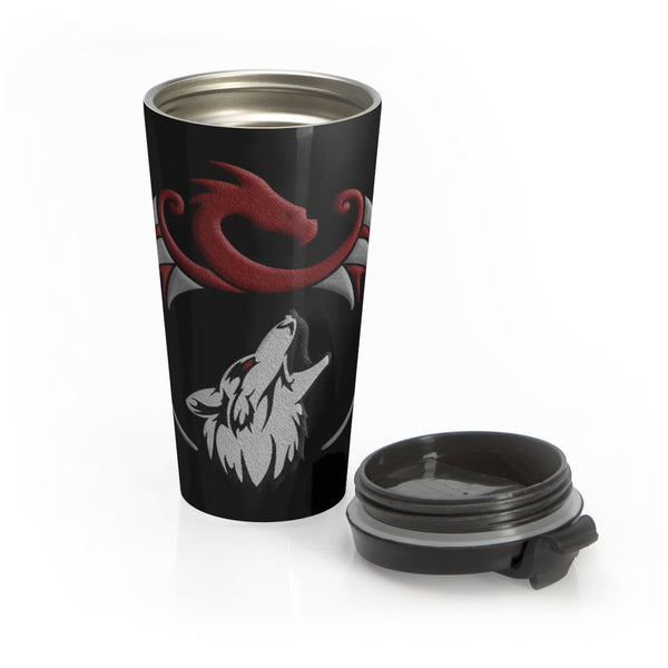 Dragon and Wolf Stainless Steel 15oz Travel Mug Mug - The Tipsy Dragon