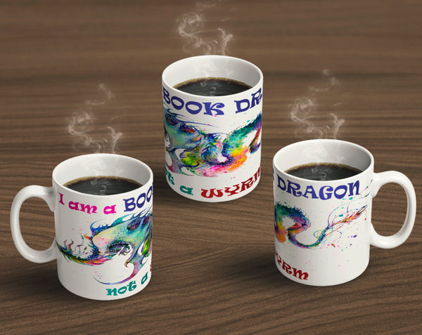 Book Dragon Not A Wyrm Wrap Around Print Coffee Mug Mugs and Goblets - The Tipsy Dragon