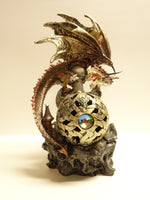 Red Dragon With LED Color Changing Orb LED Figurine - The Tipsy Dragon