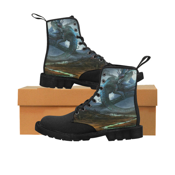Oriental Green Dragon Martin Boots for Men (Black) Martin Boots for Men (Black) (1203H) - The Tipsy Dragon