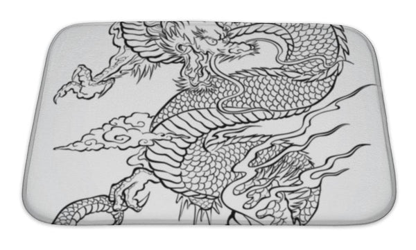 Bath Mat, Dragon Tattoo Illustration Bath Mat - The Tipsy Dragon