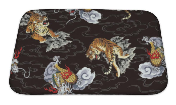 Bath Mat, Pattern Tiger And Dragon Bath Mat - The Tipsy Dragon