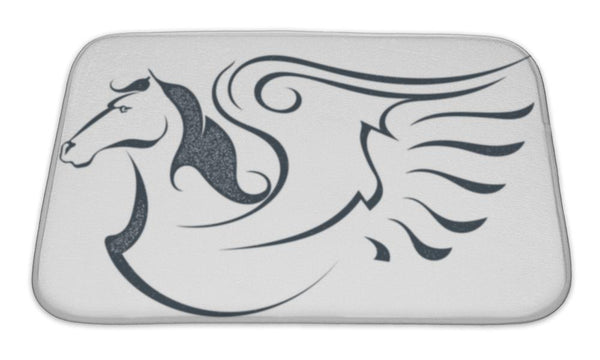 Bath Mat, Grunge Sketch Of A Flying Pegasus Isolated On White Bath Mat - The Tipsy Dragon