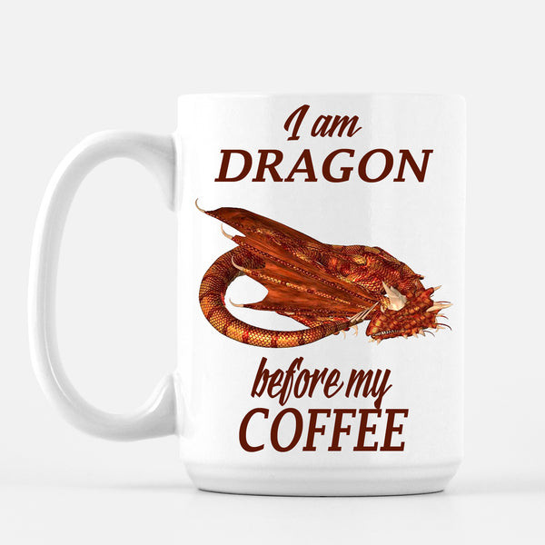 I Am DRAGON Before My Coffee, Red Dragon Coffee Mug Mugs and Goblets - The Tipsy Dragon