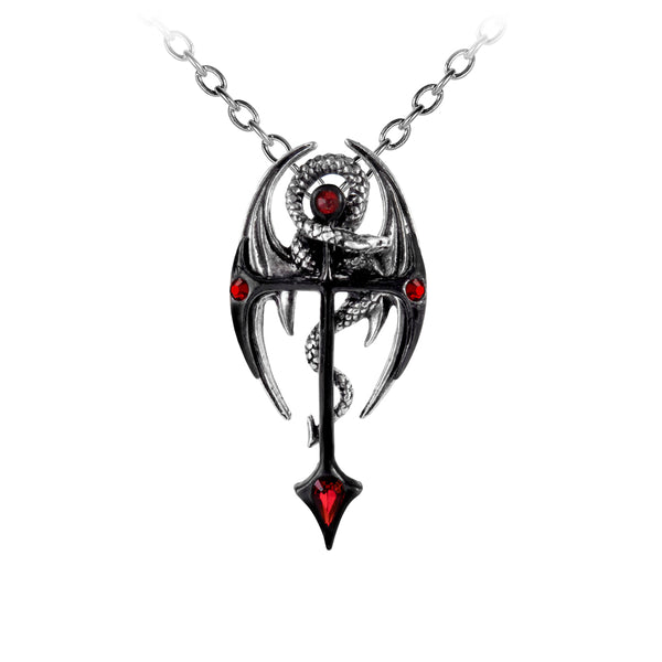 Dragonkreuz Pendant With Red Swarovski Crystals Necklace - The Tipsy Dragon
