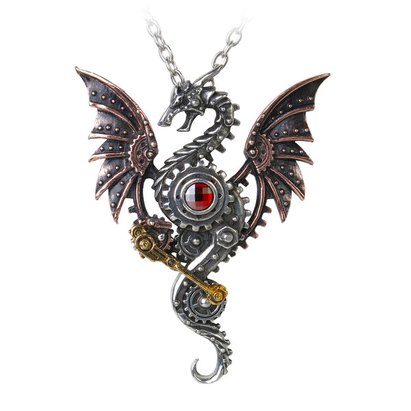 Steampunk Winged Dragon With Swarovski Crystal Pendant Necklace - The Tipsy Dragon