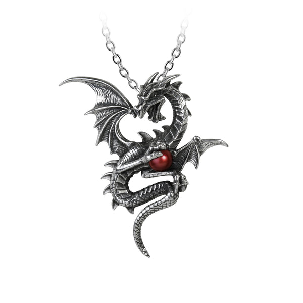 Winged Dragon With Red Swarovski Pearl Necklace Necklace - The Tipsy Dragon